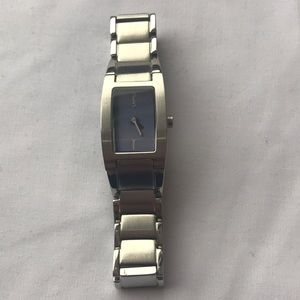 DKNY stainless steel watch with purple face